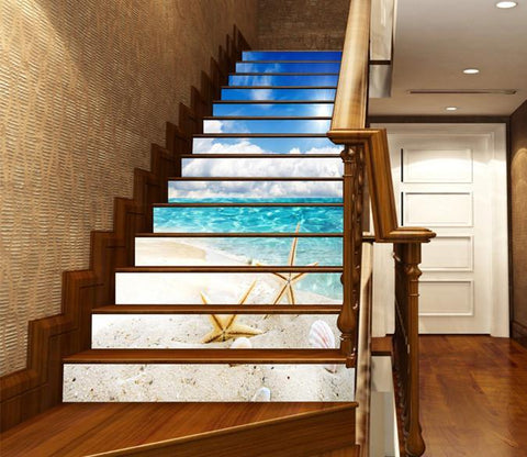 3D Beach Starfishes 1303 Stair Risers Wallpaper AJ Wallpaper