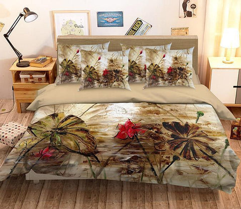 3D Lotus Flowers Painting 350 Bed Pillowcases Quilt