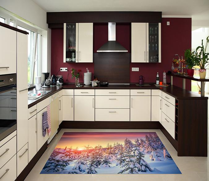 3D Snow Forest Sunset 658 Kitchen Mat Floor Mural Wallpaper AJ Wallpaper