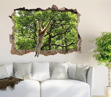 3D Naughty Monkey 146 Broken Wall Murals Wallpaper AJ Wallpaper