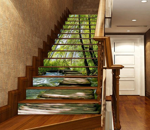 3D Froest River Wood Bridge 1148 Stair Risers Wallpaper AJ Wallpaper