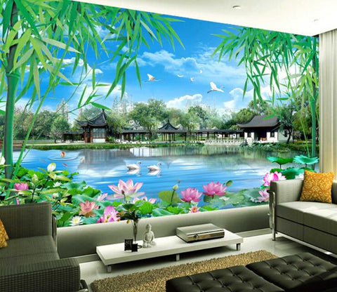 3D Pond Bamboo Pavilion And Lotus Wallpaper AJ Wallpaper 1