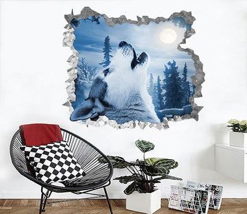 3D Bright Moon Wolf 232 Broken Wall Murals Wallpaper AJ Wallpaper