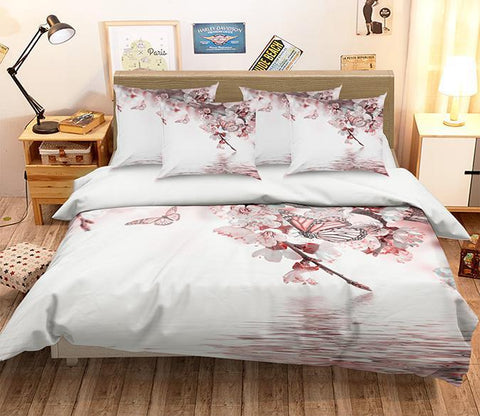 3D Peach Flowers Butterflies 346 Bed Pillowcases Quilt Wallpaper AJ Wallpaper