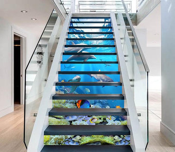 3D Pretty Seabed Dolphins 1410 Stair Risers Wallpaper AJ Wallpaper