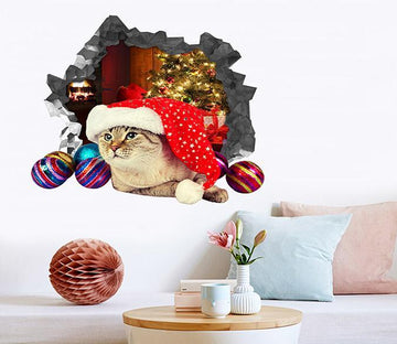 3D Christmas Cat 8 Broken Wall Murals Wallpaper AJ Wallpaper