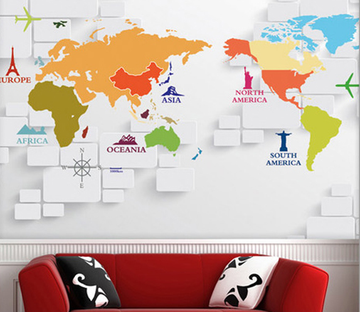 Colorful World Map Wallpaper AJ Wallpaper