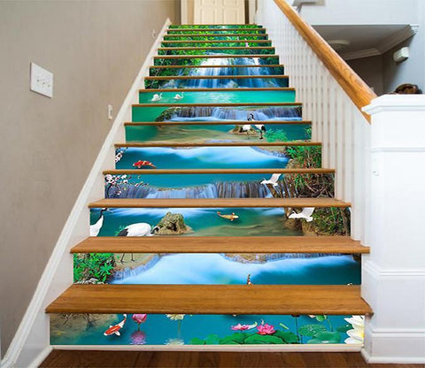 3D River Waterfall Animals 1429 Stair Risers