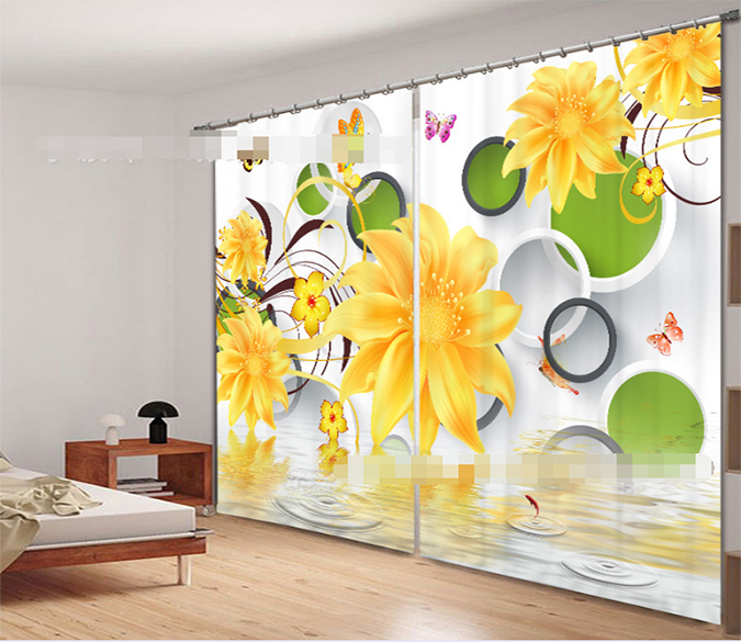 3D Rings And Flowers 932 Curtains Drapes Wallpaper AJ Wallpaper