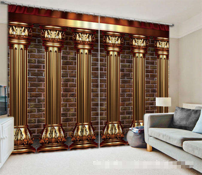 3D Bricks Wall Pillars 1309 Curtains Drapes Wallpaper AJ Wallpaper
