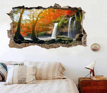 3D Waterfalls Trees 184 Broken Wall Murals Wallpaper AJ Wallpaper