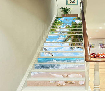 3D Sea Beach Seagulls 1518 Stair Risers Wallpaper AJ Wallpaper