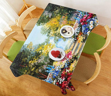 3D Oil Painting Road Flowers 336 Tablecloths Wallpaper AJ Wallpaper