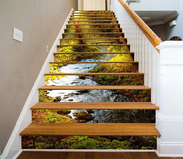 3D Forest River Scenery 1101 Stair Risers Wallpaper AJ Wallpaper