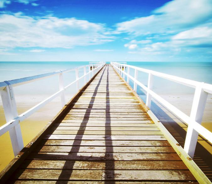 Beach Wooden Bridge Wallpaper AJ Wallpaper