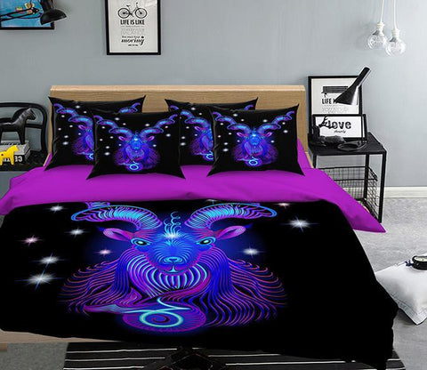 3D Capricorn 302 Bed Pillowcases Quilt