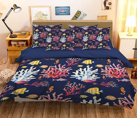3D Corals And Fishes Pattern 322 Bed Pillowcases Quilt