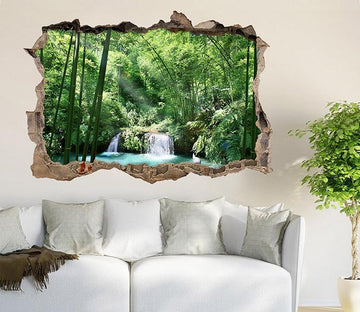 3D Bamboo Forest Lake 328 Broken Wall Murals Wallpaper AJ Wallpaper