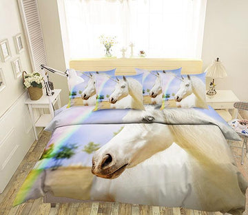 3D Rainbow Unicorn 107 Bed Pillowcases Quilt Wallpaper AJ Wallpaper