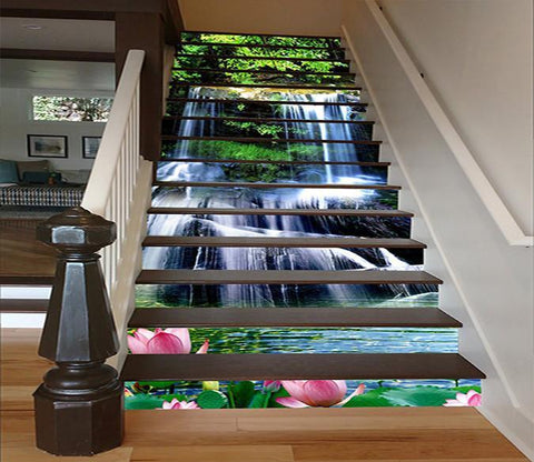 3D Clear River Waterfalls 1355 Stair Risers