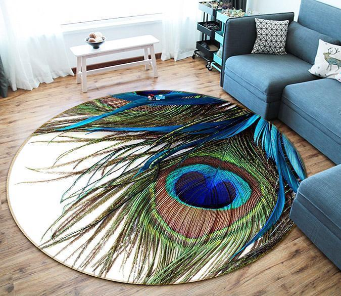 3d Peacock Feathers 34 Round Non Slip Rug Mat Aj Wallpaper