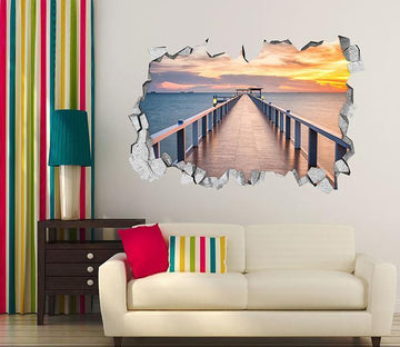 3D Sea Corridor Sunset 013 Broken Wall Murals Wallpaper AJ Wallpaper