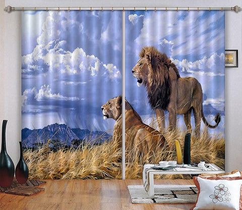 3D Lions Couple 117 Curtains Drapes Wallpaper AJ Wallpaper