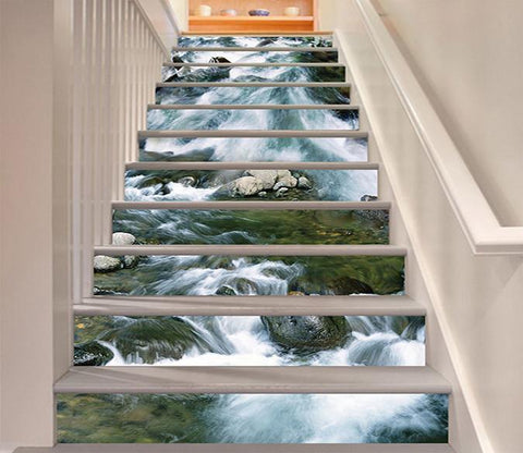 3D River Current 1427 Stair Risers Wallpaper AJ Wallpaper