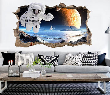 3D Space Astronaut 7 Broken Wall Murals Wallpaper AJ Wallpaper