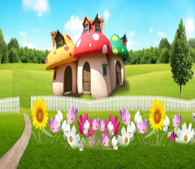 Lawn Mushroom Houses Wallpaper AJ Wallpaper
