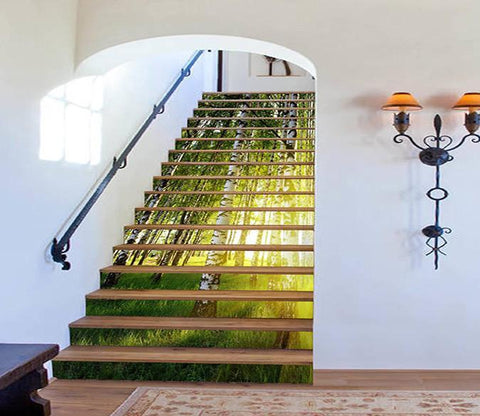 3D Grassland Trees Sunshine 1467 Stair Risers