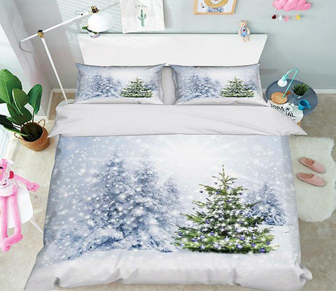 3D Snow Field Christmas Tree 351 Bed Pillowcases Quilt