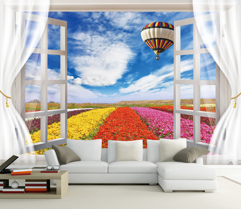 Window Colorful Flowers Wallpaper AJ Wallpaper