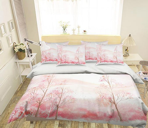 3D Pretty Pink Trees 132 Bed Pillowcases Quilt Wallpaper AJ Wallpaper