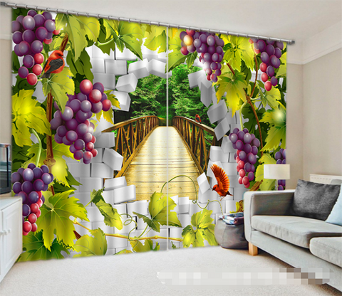 3D Bridge Bricks And Grape Vines 1269 Curtains Drapes Wallpaper AJ Wallpaper