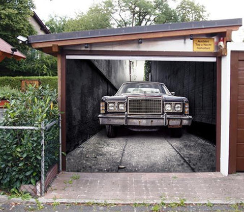3D Alley Rusty Car 263 Garage Door Mural Wallpaper AJ Wallpaper