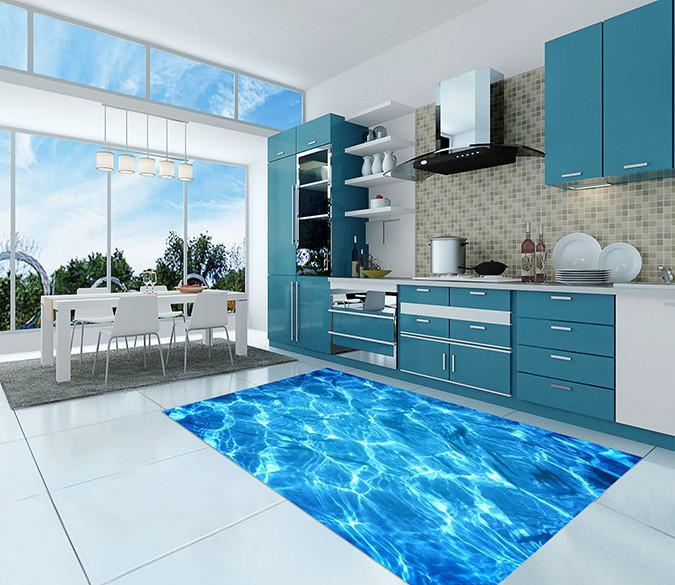 3D Flash Blue Water 07 Kitchen Mat Floor Mural Wallpaper AJ Wallpaper