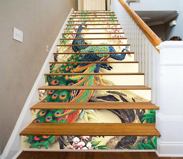 3D Tree Peacocks 765 Stair Risers Wallpaper AJ Wallpaper