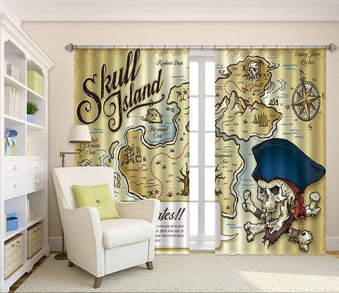 3D Skull Island Map 2251 Curtains Drapes