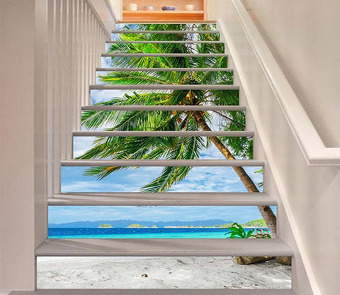 3D Beach Coconut Trees 1026 Stair Risers Wallpaper AJ Wallpaper