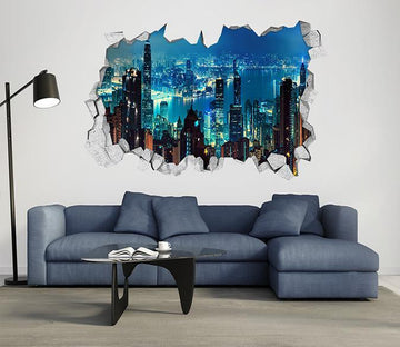 3D Pretty City Night View 120 Broken Wall Murals Wallpaper AJ Wallpaper