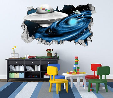 3D Space UFO 106 Broken Wall Murals Wallpaper AJ Wallpaper