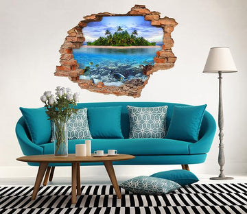 3D Sea Island 215 Broken Wall Murals Wallpaper AJ Wallpaper