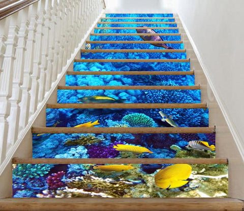 3D Bright Undersea World 36 Stair Risers