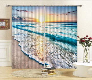 3D Beach Sunset Curtains Drapes Wallpaper AJ Wallpaper