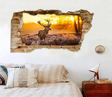 3D Sunset Forest Elk 117 Broken Wall Murals Wallpaper AJ Wallpaper