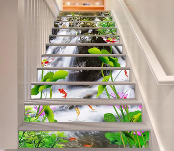 3D River Flowers Fishes 1489 Stair Risers Wallpaper AJ Wallpaper