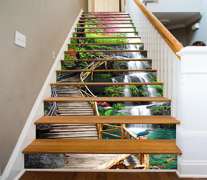 3d Waterfall Wooden Stairs 1155 Stair Risers