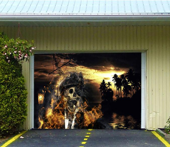 3d Burning Pirate Ship 436 Garage Door Mural Aj Wallpaper