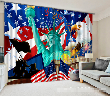 3D American Flag And Liberty Statue 1218 Curtains Drapes Wallpaper AJ Wallpaper